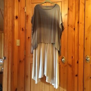 Eileen Fisher gown, xl gray crepe